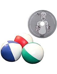 """Juggle Dream - Pack de 3 x bolas de malabares profesionales y DVD """"Aprender malabarismo"""", color rojo/blanco, azul/blanco, verde/blanco (AMPAC-015/WT)"""