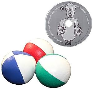 Juggle Dream - Pack de 3 x Bolas de Malabares Profesionales y DVD Aprender malabarismo, Color Rojo/Blanco, Azul/Blanco, Verde/Blanco (AMPAC-015/WT)