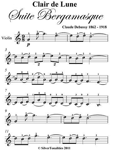 acheter populaire b9493 7f48d Clair de Lune Debussy Easy Violin Sheet Music eBook: Claude ...
