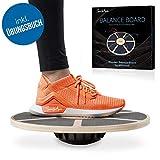 SportyAnis® Premium Balance-Board Holz inkl. Übungsbuch und optional Unterlegmatte, Durchmesser 40 cm -...