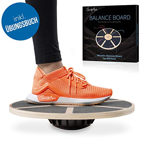 SportyAnis® Premium Balance-Board Holz inkl. Übungsbuch und optional Unterlegmatte, Durchmesser 40 cm - Therapiekreisel für Physiotherapie zur Stärkung der Tiefenmuskulatur