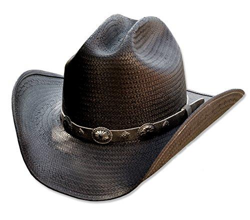 Preisvergleich Produktbild Stars & Stripes Western Strohhut Bronx schwarz - Westernhut Cowboyhut Westernkleidung Strohhut für Damen und Herren (X-Large) Schwarz