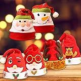 Gudotra 6pz Babbo Natale Pupazzo di Neve Renna Antlers Cappelli di Babbo Natale Rossi Cappellino Natalizio 6 Stili Diversi 27x37cm