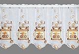Scheibengardine HISTORISCHE KAFFEEMÜHLE braun Traditionell Bestickte Küchengardine mit Plauener Spitze in 2 Höhen
