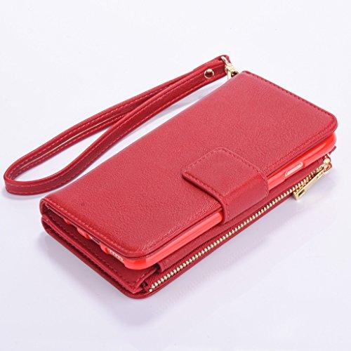 """Multi-function Wallet Case Hülle für Apple iPhone 6/6S 4.7"""" - Aohro Leder Tasche Schutzhülle Etui Brieftasche Handyhülle Flip Stand Cover mit Kartenfächer - Weiß Rot"""