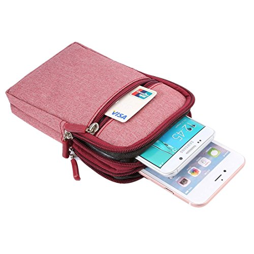 DFV mobile - Universal Multi-functional Vertical Stripes Pouch Bag Case Zipper Closing Carabiner for =>      IPHONE 5C A1529 > Black (17 x 10.5 cm) Red (17 x 10.5 cm)