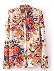 Autek women's shirt Fashion Style 2014 Spring & Summer Femmes New Vintage imprimé floral manches longues Blouses & Chemises (taille Asie)