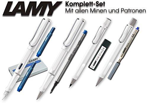 Lamy Safari Serie (weiß, Mittel - Komplett-Set)