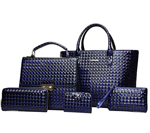 Damen Handtaschen Diamant Muster Tragbare Schulter Messenger Bag Wallet Card Paket Clutch Blue