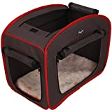 Petsfit Dog Portable Folding Camping Tent Cage, Light Weight Pop Up Travel Crate, Fabric Soft Pet Kennel with Fleece Mat,