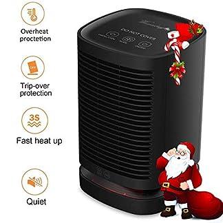 Greyghost Calefactor Electrico Portatil, 950W PTC Calentador de Espacio de Cerámica de Calentamiento Rápido con Termostato Ajustable/Protección contra Sobrecalentamiento