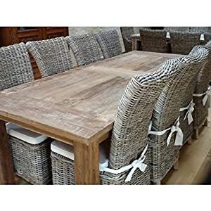 Inspiring Furniture LTD Reclaimed Teak Mexico 2.4 Table with 8 Natural Wicker Kubu Grey Chairs (Latifa)
