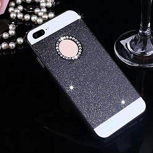 Cuitan PC Glitter Housse Case pour Apple iPhone 7 (4,7 Inch), avec Diamant Strass Sparkle Bling Shiny Retour Housse Back Cover Protecteur Etui Coque Cover Shell pour iPhone 7 (4,7 Inch) - Argent Noir
