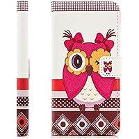 Coque Samsung Galaxy A5 (2016) Housse Etui Flip Cover Wallet Case avec Poche intérieur Cover Haute Qualité Hibou Rouge (Red Owl)