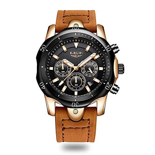 Lige orologio da uomo orologio da polso al quarzo pelle marrone cronografo impermeabile luminoso sport militare orologi nero