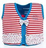Lampiphant® + Konfidence Kinder-Schwimmweste aus Neopren, Rot-Weiss mit Rüsche, Größe: 21-26 kg (6-7 Jahre), Brustumfang 66 cm