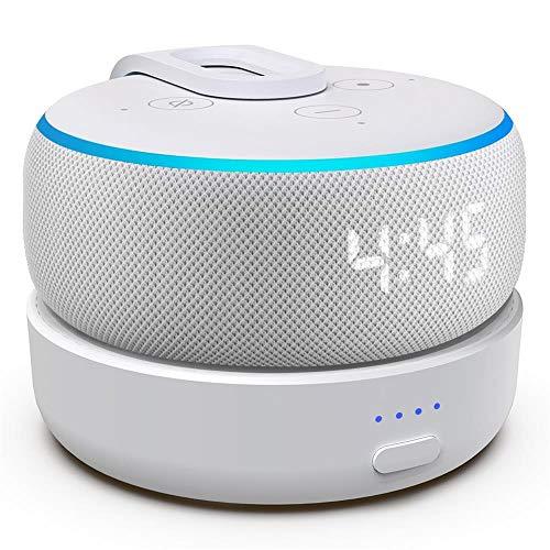 GGMM D3 Tragbare Ladestation für Dot (3.Gen.), Powerbank & Batterie Akku für Smart Lautsprecher, 8 Stunden Akkulaufzeit (Dot 3 Nicht enthalten) (Weiß-2)