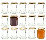 Better Bottles Hexagonal Glass Jam Jars with Gold Lids , 280 ml Capacity, Pack of  15