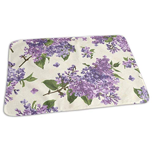 Kotdeqay Baby Changing Pad Liners Beautiful Purple Flower Daily Use Diaper Changing Pad Mats Portable Pad 25.5x31.5 Inches
