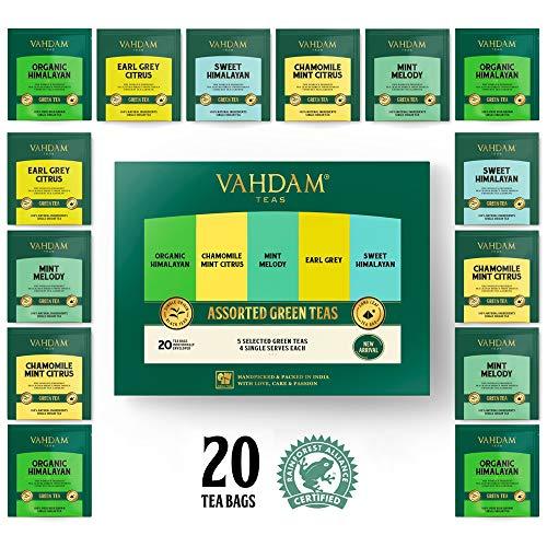 VAHDAM, surtido té verde | 5 tés, 4 bolsitas té