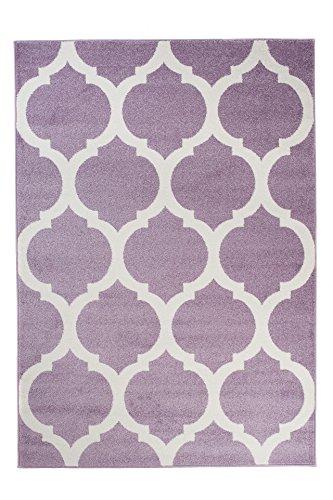 Teppich Kurzflor Kinderteppich Lila Creme Modern Geometrisch Marokkanisch Muster Perfekt für Jugendzimmer ÖKOTEX 120 x 170 cm ()