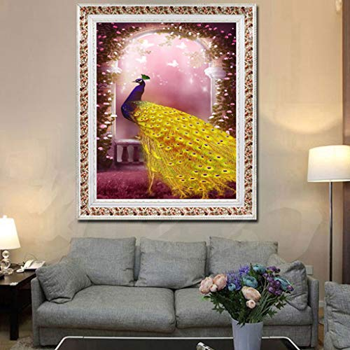 Gold Feder Pfau mit Schmetterling 5D DIY Full Diamond Painting Stickerei Drill Mosaic Needlework Cross Craft Stitch Kit Home Decor