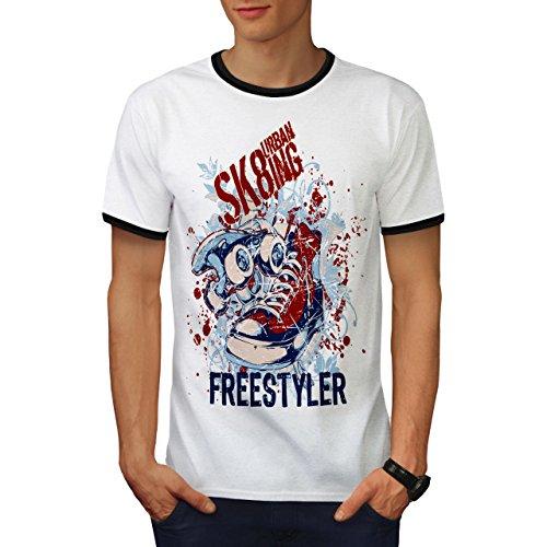 Städtisch Schlittschuhläufer Straße Stadt Skateboard Herren S Ringer T-shirt | Wellcoda