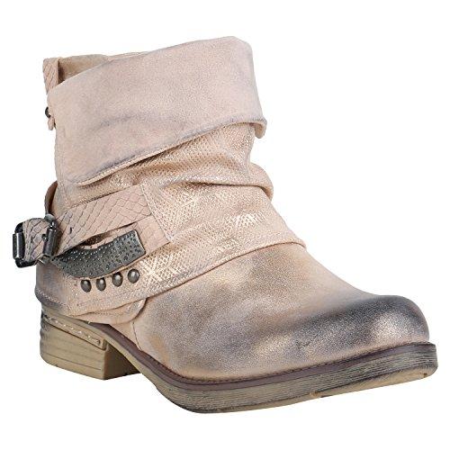Stiefelparadies Gefütterte Damen Schuhe Biker Boots Nieten Schnallen Stiefeletten 156857 Rosa Nieten 37 Flandell