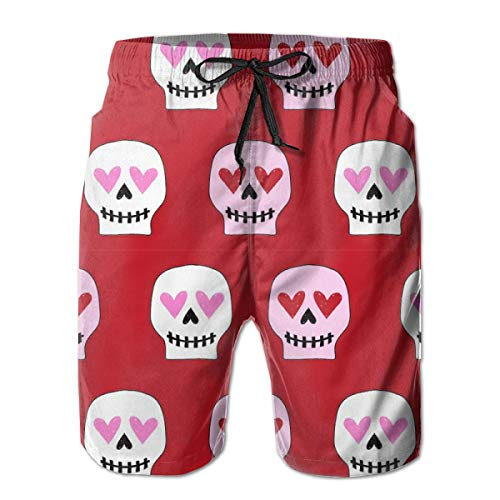 Valentines Skull Heart Eyes Herren Shorts Casual Classic Fit Kordelzug Sommer Strand Shorts Beachwear Sommerurlaub Badehose -
