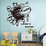 hllhpc Personnalisé Nom Rugby Sticker Mural Garçon Chambre Pépinière Grand Football Nom Personnalisé Sport Balle Mural Decal Chambre Vinyle Décor 56 * 53 cm