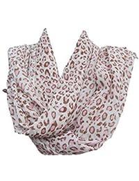 Chiffon pale baby pink animal leopard print design Fashion Shawl Scarf 150cm x 50cm by Fat-Catz