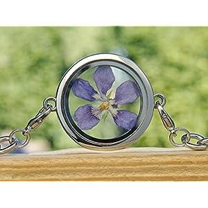 Veilchen Armband echte Blüten Medaillon lila Veilchenblüte