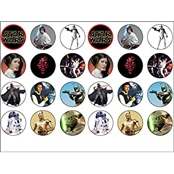 24 Star Wars Edible Wafer Paper Cup Cake Toppers Starwars by CakeThat