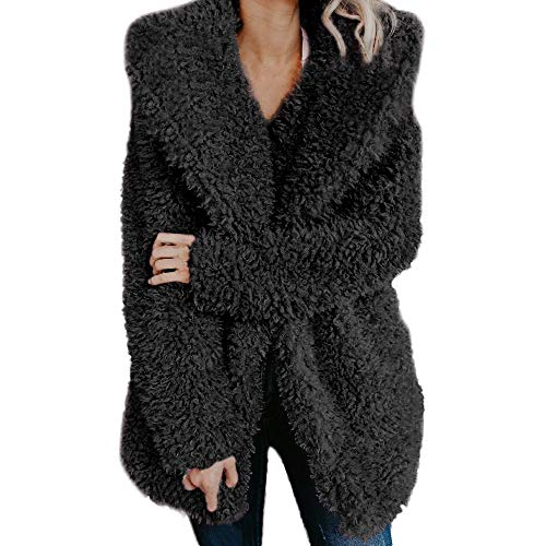 Damen Strickjacke MYMYG Frauen Casual Jacke Winter Warm Parka Outwear Oberbekleidung Plüsch Winter Warm Dicken Solid Jacke Strickjacke Mantel(schwarz,EU:36/CN-M)
