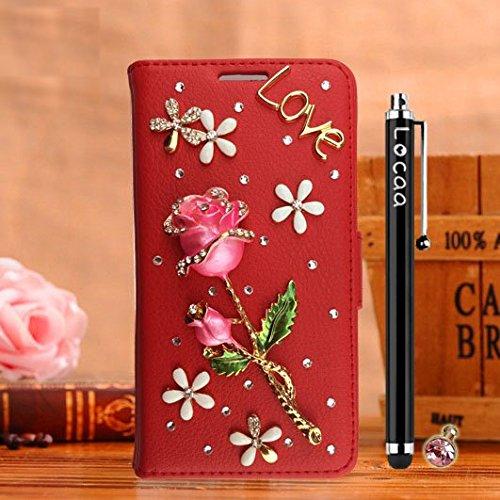 Locaa(TM) Pour Apple IPhone 6 IPhone6 4.7 inch 3D Bling Rose Case Coque Étui Fait Love Cuir Qualité Housse Chocs Couverture Protection Cover Shell Etui For [Rose 1] Rouge - Rose Vin Rouge Rouge - Rose Rouge Clair