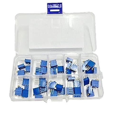 WINGONEER 50PCS 10Value 500 ohm à 1M ohm 3296W Multiturn Trimmer Potentiomètre Assorted Kit Résistance Variable avec Plastci Box