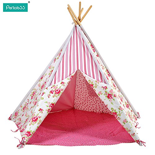 Pericross Children Teepee Tent Kids Play Tent Indian Tent for Kid Indoor Play Ground Play House Tents Kid Outdoor Garden Cartoon Horse (Rose Floral)