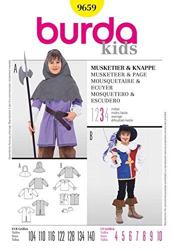 9659Kinder–Musketier & Seite Kostüm Alter: 4–10 (Burda Patterns Kostüme)