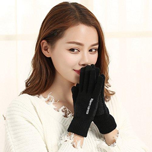 Wolle Handschuhe - Paar Männer / Frauen Herbst / Winter Rutschfeste Stricken Touchscreen Fingersatz Wärme,Black (Mädchen Fingersatz)