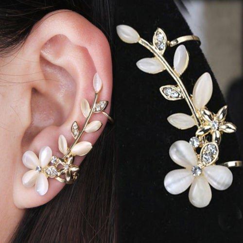 EvaluBuy (TM) Frauen-Art- und Blumen-Form Strass linkes Ohr-Stulpe-Klipp goldene (Lieferanten Modeschmuck China)