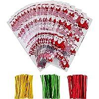 100 Piezas de Bolsas de Dulce de Plástico de Navidad Bolsa Transparente con 150 Piezas de Precintos para Materiales de Fiesta de Navidad (Papá Noel)