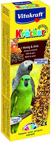 Vitakraft Kräcker, Knabberstangen für Papageien mit Honig und Anis, 2er Pack (2 x 2 Stück) Trocken-fettarme Milch