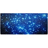 Meffort Inc Extra Large Extended Gaming Desk Mat 34.75 x 15.25 inch Mouse Pad - Blue Dragon Galaxy Stars