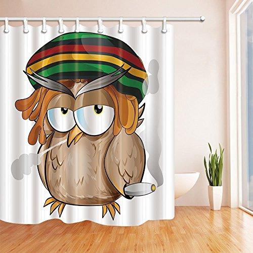 Rrfwq Jamaican Whit Hut Cartoon Eule Duschvorhang 70.8X70.8 Zoll Mehltau beständig Polyester Stoff Badezimmer Fantastische Dekorationen Bad Vorhänge Haken enthalten (Jamaican Hüte)