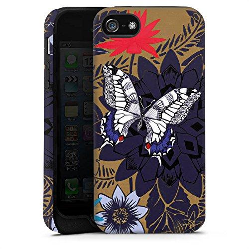 Apple iPhone 5 Housse étui coque protection Papillon Fleurs Fleurs Cas Tough terne
