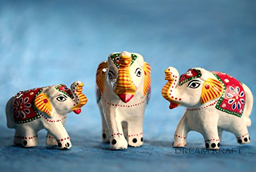 Dreamkraft Set Of 3 White Elephant Showpiece For Home Dã©Cor And Gift...