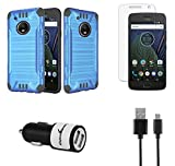 Moto G5 Plus - Accessory Bundle with Dual Layer [Brushed Metal Texture] Hybrid Case - [Blue], Atom LED, Tempered Glass Screen Protector, 10W Dual Port Car Charger, Micro USB Cable