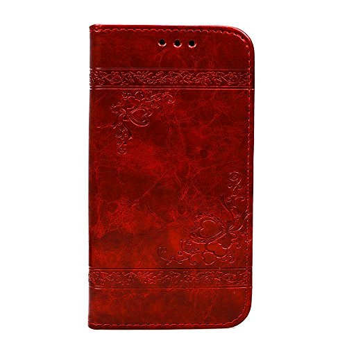 Nnopbeclik Samsung Galaxy S5 Hülle, Samsung Galaxy S5 Case, Fashion Luxury Embossed Handyhülle Tasche Flip Wallet Case Portable Handytasche Anti-Scratch Shell Bargeldtasche ID Card Slot Magnetverschluss Etui Flip Folio TPU Soft Bumper PU Leather Ultra Slim Fit Cover for Samsung Galaxy S5 (Red) (Mini Tasche Embossed)