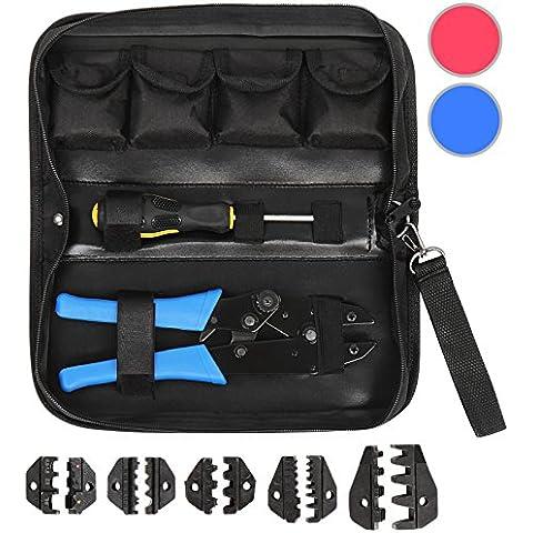 Timbertech - Estuche con crimpadora, 5 accesorios y destornillador disponible en color azul