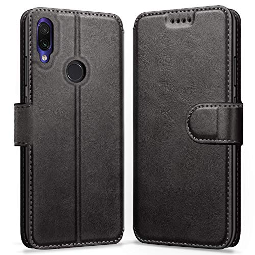 ykooe Xiaomi Redmi Note 7 Hülle, Flip Wallet Handy Schutzhülle Leder Handyhülle für Xiaomi Redmi Note 7 / Redmi Note 7 Pro Tasche - Schwarz